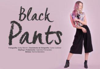 Editorial de moda com inúmeras calças pretas