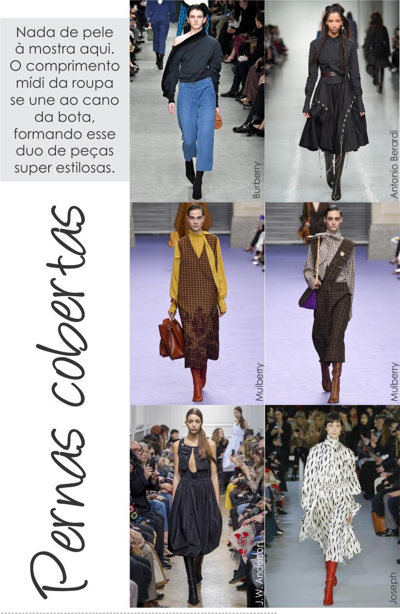 Comprimento mídi com bota é uma das tendências da fashion week