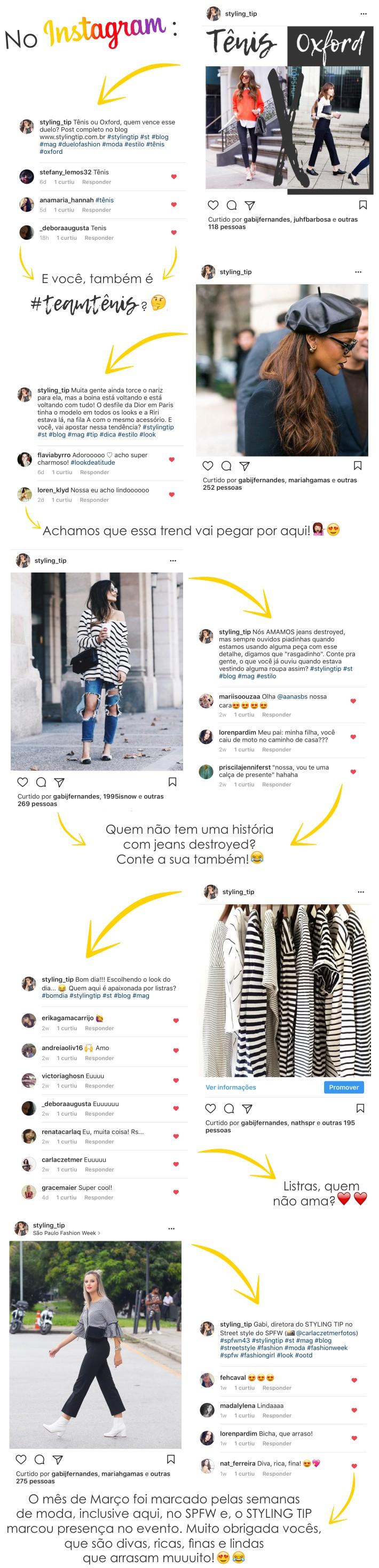 Comentários das leitoras do styling tip