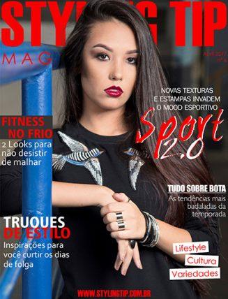 Capa da Magazine digital do STYLING TIP do mês de ABRIL DE 2017 tendência sport chic