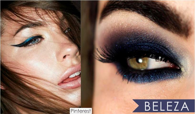 Azul cor do inverno 2017 na maquiagem