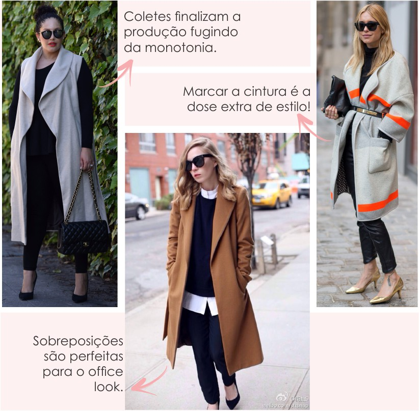 Coletes e casacos alongados para o Inverno