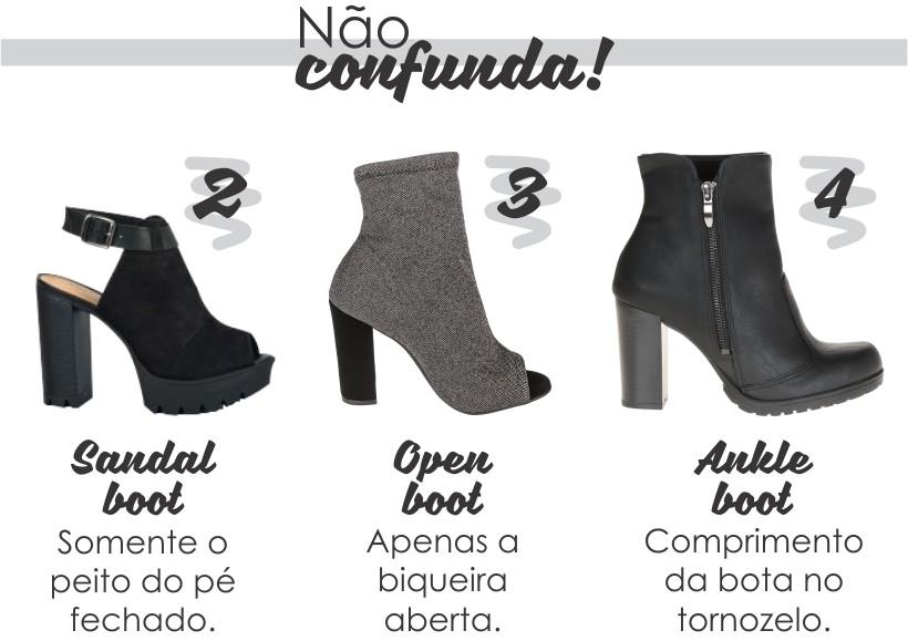 diferença entre sandal, open e ankle boots