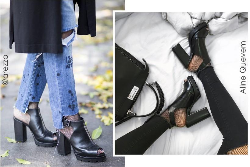 sandal boots com meia arrastão