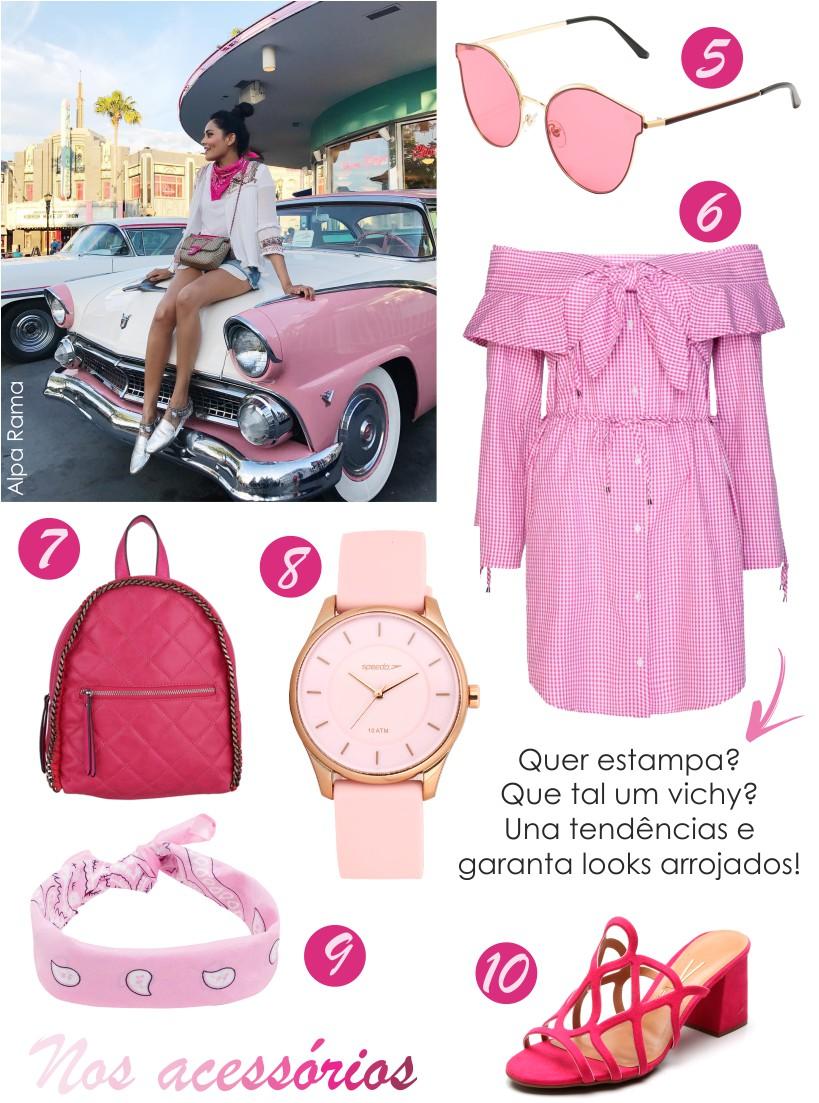 Como usar acessórios rosa
