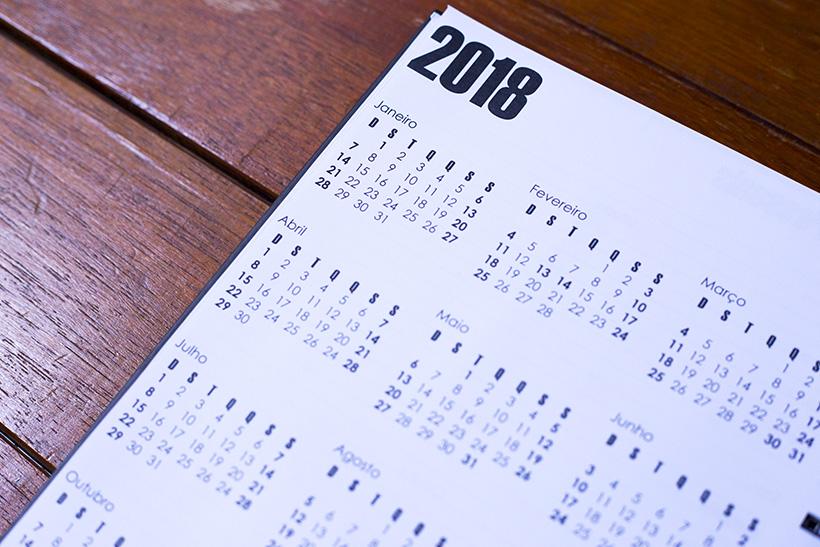 Calendário - Modelo de Planner | STYLING TIP 2018