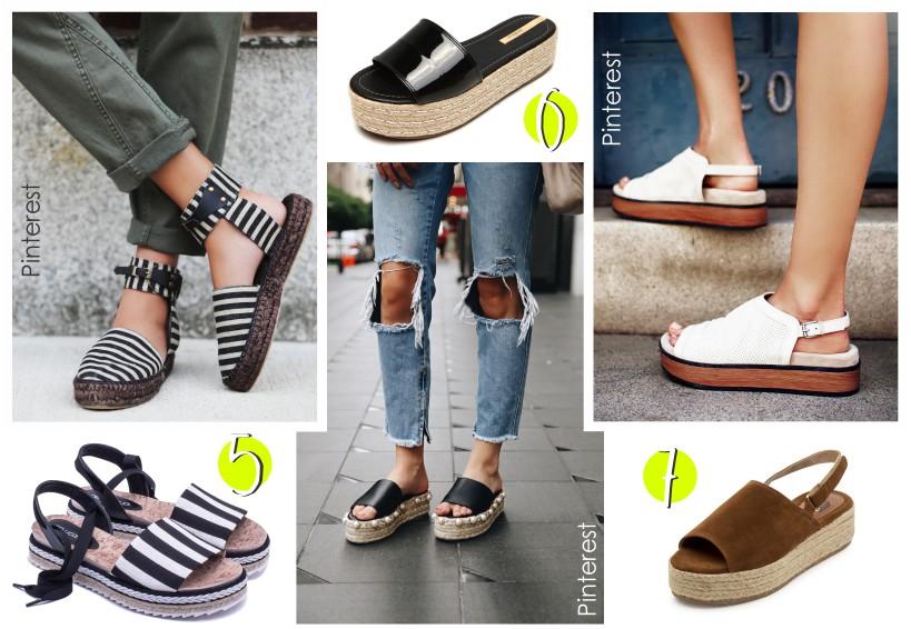 Variedades de sandálias com salto flarform.