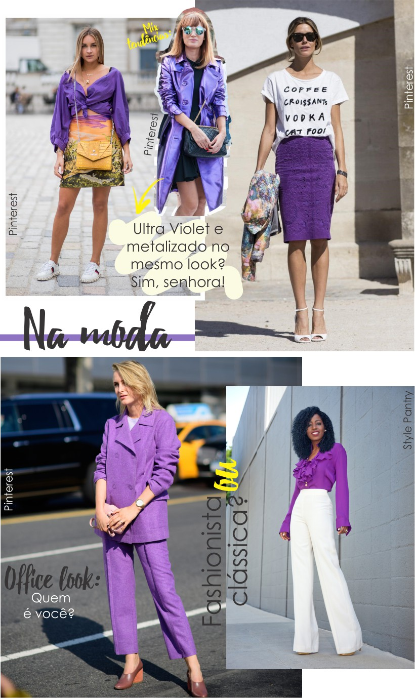 Ultra Violet no Street style e no Office Look.