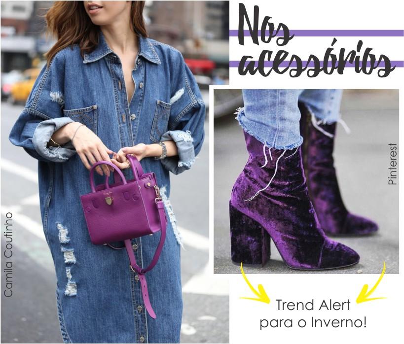 Ultra Violet nos acessórios como bolsas e sapatos.