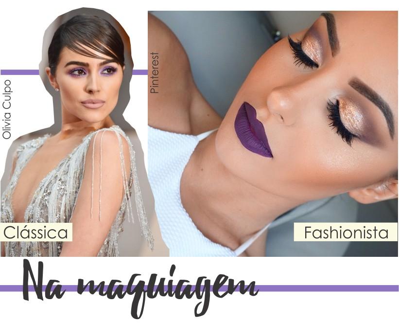 Ultra Violet na maquiagem clássica e fashionista.