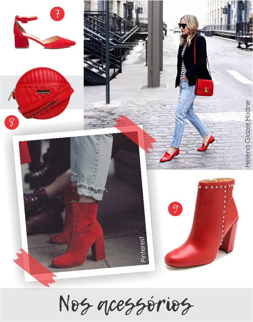 Vermelho nos acessórios como bolsas e calçados.