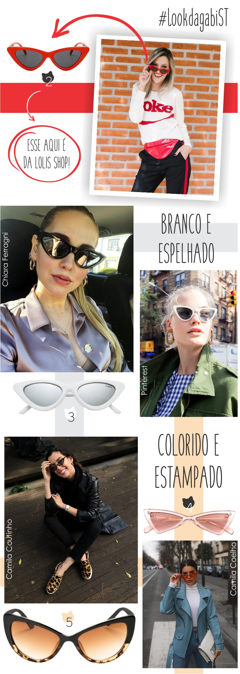Óculos de gatinho em diferentes cores. Solte a criatividade na hora de escolher o seu!