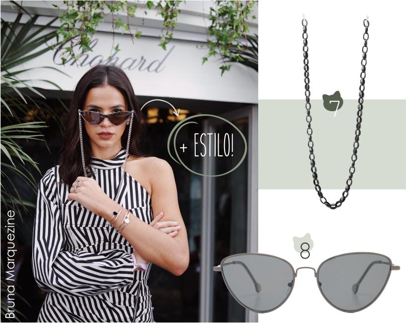 Cat eye, os óculos de gatinho, combinados com cordão de corrente. Mais estilo para o seu look!