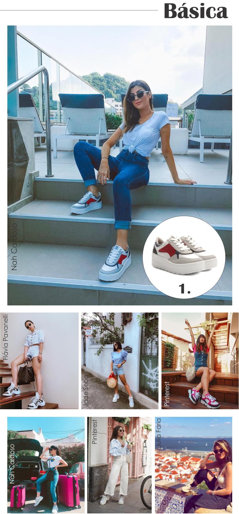 Chunky Sneakers com produções mais básicas.