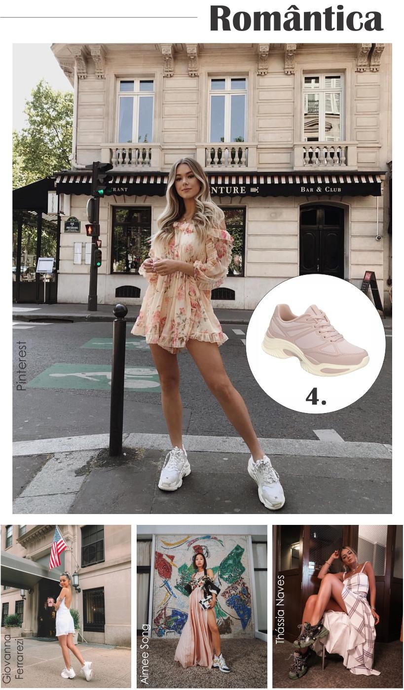 Chunky Sneakers também combina com produções românticas.