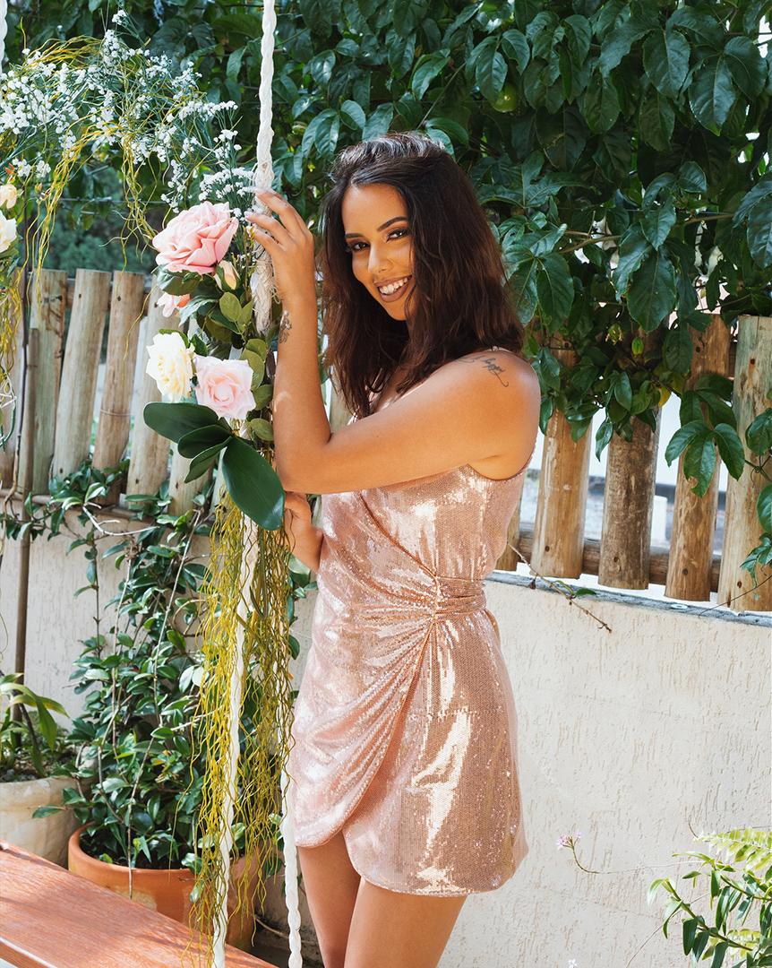 Look vestido de paetê rose gold - Editorial produzido pelo STYLING TIP para Espaço Muna