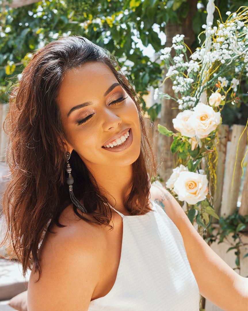 Maquiagem rose gold Karina Bandeira Make up - Editorial produzido pelo STYLING TIP para Espaço Muna